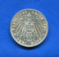 Allemagne  3  Mark  1908 - 2, 3 & 5 Mark Plata