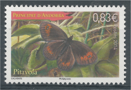 Andorra (French Adm.), Butterfly, Woodland Ringlet (Erebia Medusa), 2014, MNH VF - Unused Stamps