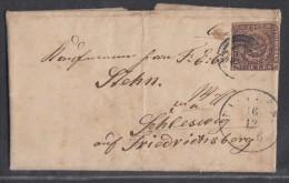Dänemark Brief EF Minr.1 16.12.56 Gelaufgen Nach Schleswig - 1851-63 (Frederik VII)