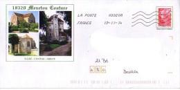 PAP Utilisé : 18 (cher) : MENETOU COUTURE, église -chateau - Abbaye - Postal Stamped Stationery