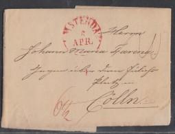 Brief Gelaufen Von Amsterdam Am 5.4.1836 Nach Cöln - Niederlande