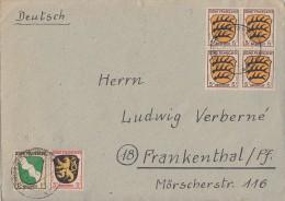 Fr. Zone Brief Mif Minr.1, 2, 4x 3 Ludwigshafen 1.7.46 - Französische Zone