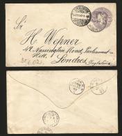 G)1902 MEXICO, COAT OF ARMS, EAGLE POSTAL STATIONARY, CIRC. SAN LUIS POTOSI CANC., CIRCULATED TO LONDO VIA NUEVO LAREDO, - Mexico