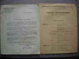 LILLE 27 ET 28 AOUT 1935 CONGRES EXTRAORDINAIRE DE L'ASSOCIATION DES MAIRES DE FRANCE PROGRAMME ET COURRIER DU 25/7/35 - Programme