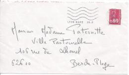 LYON GARE 1975 Flamme 4 Lignes Ondulées Sur Timbre 0.50 Marianne De Béquet - Marcophilie (Lettres)