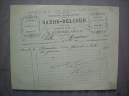 AVESNES NORD SABBE-DELCOUR HORLOGER ATELIER DE REPARATIONS GRANDE-RUE 54 FACTURE DU 18 10bre 1886 - 1800 – 1899