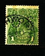 AUSTRALIA - 1924  KGV HEAD  1d GREEN SINGLE CROWN WMK PERFORATED OS FINE USED  SG O79 - 1913-36 George V: Heads