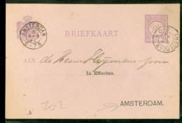 POSTHISTORIE * HANDGESCHREVEN BRIEFKAART Uit 1892 Van LOKAAL AMSTERDAM (10.360m) - Postal Stationery