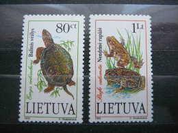 Lietuva Litauen Lituanie Litouwen Lithuania 1993 MNH # Mi. 545/6 Pond Life. Frogs Turtles - Lituanie