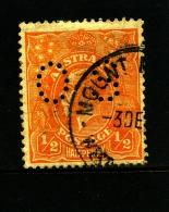 AUSTRALIA - 1927 KGV HEAD 1/2 D ORANGE  SMALL MULTIPLE WMK PERF. 13 1/2x12 1/2 PERFORATED OS FINE USED  SG O97 - Used Stamps