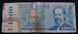 CZECHOSLOVAKIA 1000 KORUN 1985, G. SMALL SERIAL NUMBER. - Checoslovaquia