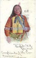 27342 US COSTUMES NATIVE INDIAN MEDICINE MAN CIRCULATED TO BELGIUM POSTAL POSTCARD - Estados Unidos