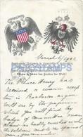 27350 US GERMANY HERALDRY PATRIOTIC YEAR 1902 CIRCULATED TO BELGIUM  POSTAL POSTCARD - Ohne Zuordnung