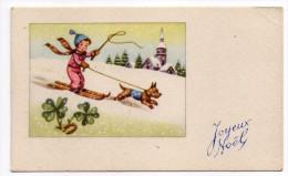 Joyeux Noel--type Mignonnette--illustrateur ??--Paysage De Neige,enfant Skieur Attelage De Chien - Natale