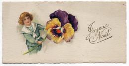 Joyeux Noel--type Mignonnette--illustrateur ??--enfant En Marinière Et Fleur (pensée) - Natale