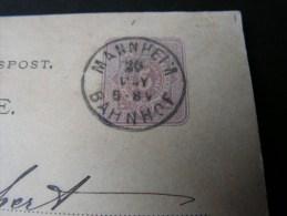 == Mannheim Bahnhof 1875 Karte - Briefe U. Dokumente