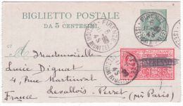 19454- Biglietto Postale 5 C. + Compl. EXPRESSO 25 C ( EXPRESSO Barré ) De Firenze Pour La France - 4. 1944-45 Repubblica Sociale