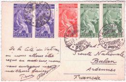 1935- Carte Postale  Affr. Y & T. N° 66 + 67 En Paire + 68 En Paire  Pour La France - Vatican