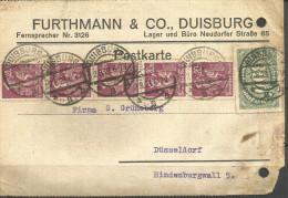 108y * DEUTSCHES REICH * INTERESSANTE GESCHÄFTSPOST AUS DER INFLATIONSZEIT VON DUISBURG NACH DÜSSELDORF * 1923 **!! - Briefe U. Dokumente