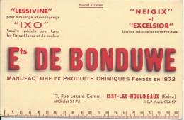 Buvard/Produits Ménagers/Lessivine/Ixo/Ets De Bonduwe/ISSY-les-MOULINEAUX/Seine/Vers 1950    BUV233 - Wash & Clean