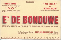 Buvard/Produits Ménagers/Lessivine/Ixo/Ets De Bonduwe/ISSY-les-MOULINEAUX/Seine/Vers 1950    BUV233 - Wassen En Poetsen