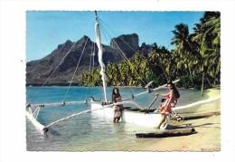 8570 - BORA BORA : Piroque à Voile Sur La Plage, - Polynésie Française