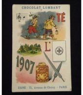 Chocolat LOMBART Vers 1908 : Image Chromo Lithographique à Rébus - Lombart