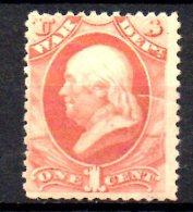 Y1684 - STATI UNITI 1873 , Francobolli Di Servizio 1 Cent N. 82 Linguelle Pesanti. Poco Fresco. WAR - United States