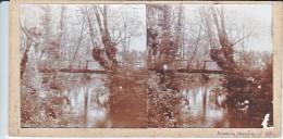 Vieille Photo Stereoscopique  Artistique Souvenir Moulin 1931 Nature Et Petit Pont Ruisseau - Stereoscopic