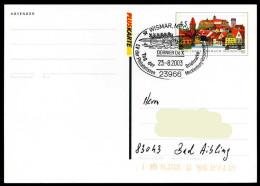 36974) BRD - Ganzsache PSo 81a - SoST 23966 WISMAR, MECKL Vom 28.08.2003 - Tag Der Briefmarke, Dornier Do X - Marcofilie - EMA (Printmachine)