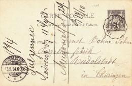 1401# SAGE ENTIER POSTAL Obl LORIENT A NANTES 1894 CONVOYEUR LIGNE MORBIHAN LOIRE ATLANTIQUE Pour RUDOLSTADT THÜRINGEN - Marcophilie (Lettres)