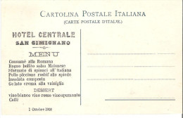 MENU HOTEL CENTRALE SAN GIMIGNANO (SIENA) 1908 SU CARTOLINA - Menus