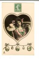 4704.3 - Timbre Recto - Femme Dans Un Gos Coeur - Guirlane D'oeus - Scan Recto 1908 - Pâques