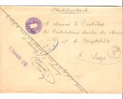 Lettre En Franchise C.Anvaing + Empreinte à Sec Armoiries Des Contributions Et Accises+censures De Ath V.Leuze PR2579 - WW I
