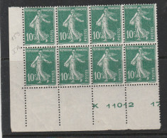 FRANCE N° 159 10C VERT TYPE SEMEUSE CAMEE CHEF DE PRESSE K 11012 PRESSE 17 BLOC DE 8 NEUF SANS CHARNIERE - Curiosités: 1900-20 Neufs