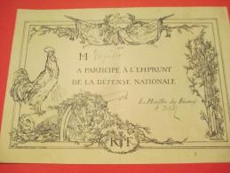 Certificat De Participation à L'emprunt Défense Nationale//Pour La Patrie/ 1915     DIP97 - Army & War