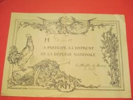 Certificat De Participation à L´emprunt Défense Nationale//Pour La Patrie/ 1915     DIP98 - Army & War