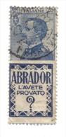 PUBBLICITARI 1924-1925 25 CENT ABRADOR SASSONE 4 COD.FRA.652 - 1900-44 Victor Emmanuel III.