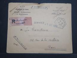 TUNISIE - Env Recommandée En Franchise Des PTT Tunisiennes Pour Paris - Oct 1958 - A Voir - P15128 - Tunisie (1956-...)