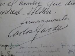 Autographe Carlos Gardel Sur Feuille De Carnet. Inventeur Du Tango Casino Juan Les Pins 28/08/1932 - Autographes