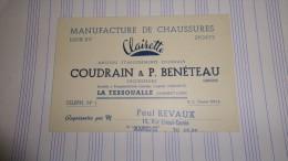 Carte Manufacture De Chaussures CLAIRETTE Coudrain & Benéteau La Tessoualle ( Maine Et Loire ) - Paul Revaux Amiens - Visiting Cards