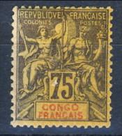 Congo 1892 Tipi Sage Serie N. 23 C. 75 Violetto Su Giallo *MLH Timbro Di Garanzia Brunn Catalogo € 53 - Unclassified
