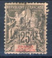 Congo 1892 Tipi Sage Serie N. 19 C. 25 Nero Su Rosa USATO Catalogo € 22,50 - Unclassified