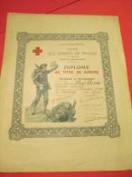 Diplôme Au Titre De Guerre/Croix Rouge Française/Union Des Femmes De France/Fécamp/Seine Inférieure/ Vers 1920 DIP102 - Army & War