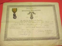 Brevet De Médaille Militaire/Grand Chancelier Ordre National Légion Honneur/1er Régt Tirailleurs Algériens/1884 DIP110 - Army & War