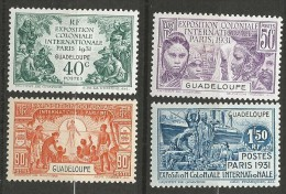 GUADELOUPE EXPO COLONIALE 1931 N� 123 � 126 NEUF* INFIME TRACE DE CHARNIERE / MH