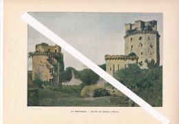 Vers 1900 Belle Chromophotographie. EN BRETAGNE.- Ruines Du CHÂTEAU D´ELVEN Excellent état - Estampes & Gravures