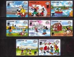 LESOTHO, 1988, Mint Never Hinged Stamp(s), Disney,  MI Nrs. 697-704, #2708 - Lesotho (1966-...)