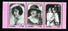 LESOTHO, 1990, Mint Never Hinged Stamp(s), Queen Mother,  MI Nrs. 843-845, #2723 - Lesotho (1966-...)