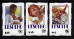 LESOTHO, 1990, Mint Never Hinged Stamp(s), Unicef,   MI Nrs. 857-859,, #2726 - Lesotho (1966-...)